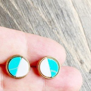 GOLD TURQUOISE AGATHA STUDS EARRINGS SET